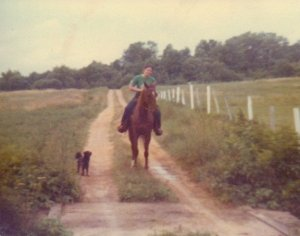 Sunny, my first horse, at my great uncles Clarence and Homer Lung's farm, 1978